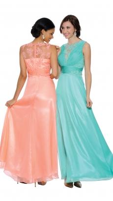 8449-melon - Sleeveless Floor-Length Dress by Terr